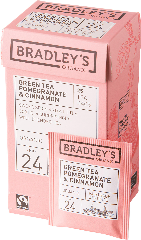 Чай зеленый в пакетиках Bradley's Organic FT Гранат и корица, 25 шт