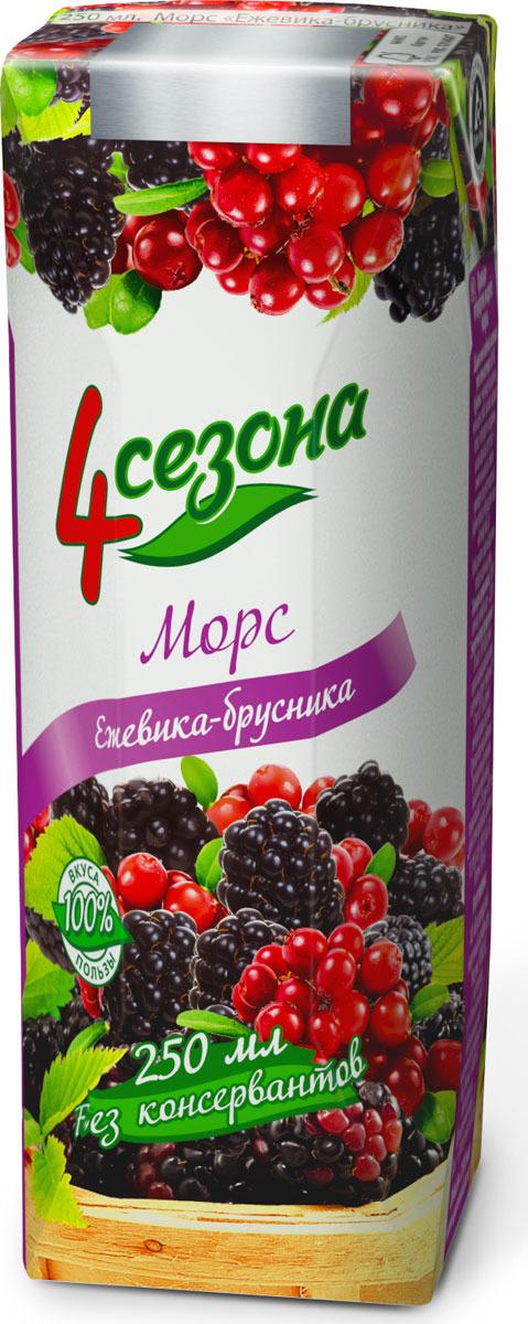 Ягодный морс 4 Сезона, ежевика-брусника, 250 мл