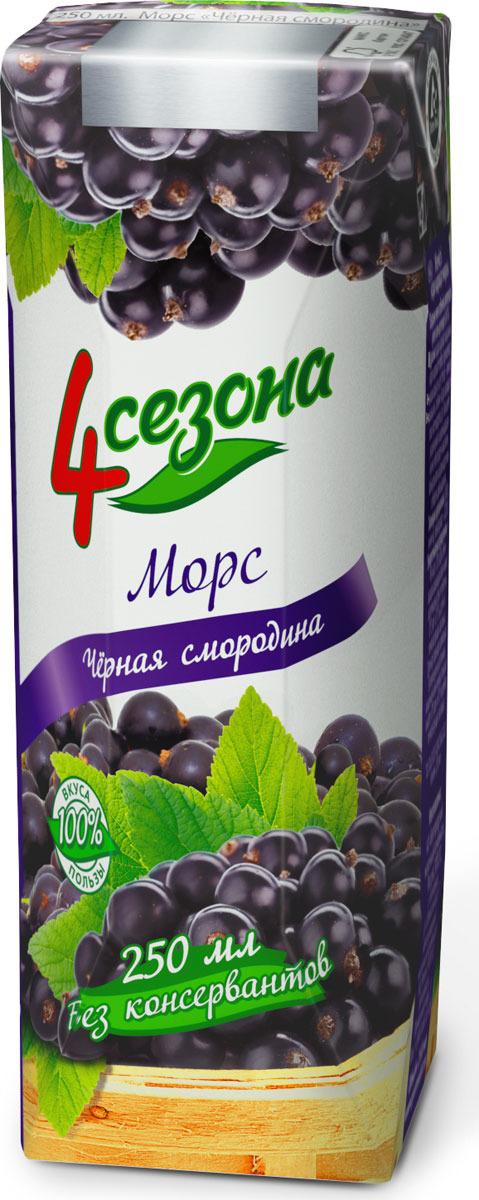 Ягодный морс 4 Сезона, черная смородина, 250 мл иванов морс черная смородина 1 л