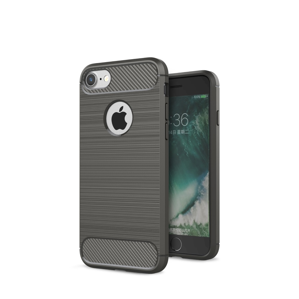 Чехол силиконовый EVA для Apple iPhone 7/8. Цвет- Серый/Карбон цена и фото