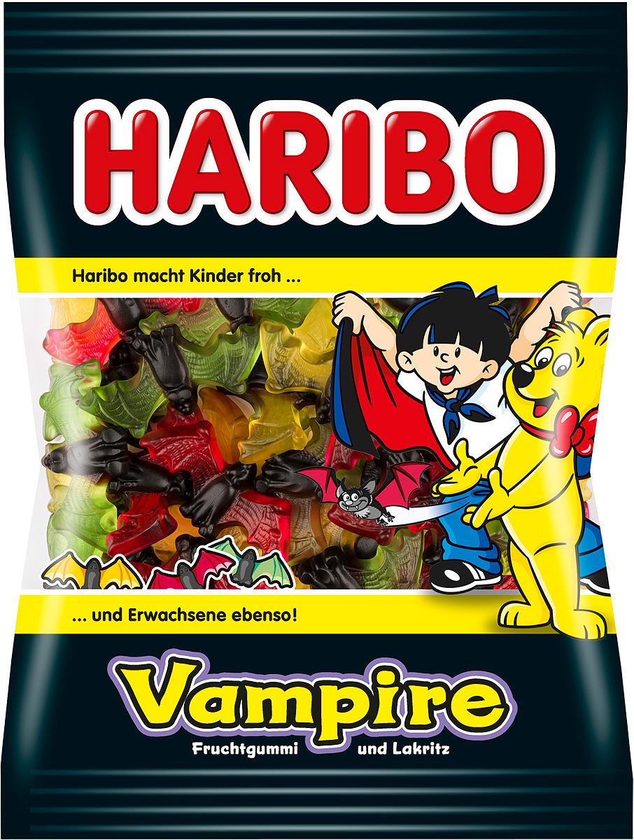 Haribo Vampire жевательный мармелад, 200 г20220А сейчас будет страшно! Страшно вкусно! Вампиры от Haribo - это интересное сочетание пряной лакрицы и фруктового жевательного мармелада. А теперь в новой, еще более красочной упаковке и новыми потрясающими вкусами: апельсин, лимон, яблоко, клубника, малина, черника! Рекомендуем!