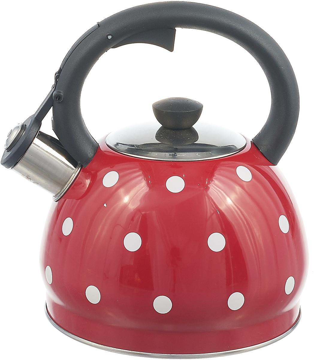 Чайник Rainstahl, со свистком, цвет: красный, белый, 2 л отделитель вишневых косточек rainstahl цвет белый красный