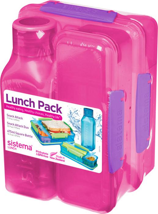 Набор Sistema Lunch: 2 контейнера и бутылка для воды Sistema, цвет: красный, 475 мл. 1590K