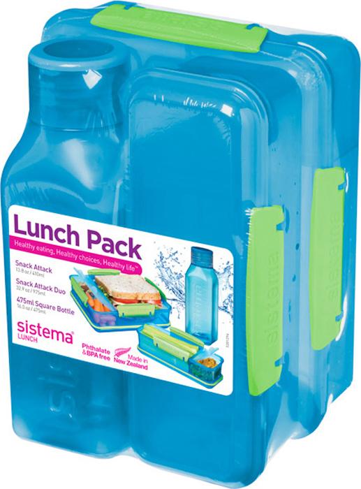 Набор Sistema Lunch: 2 контейнера и бутылка для воды Sistema, цвет: синий, 475 мл. 1590S