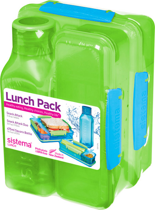Набор Sistema Lunch: 2 контейнера и бутылка для воды Sistema, цвет: зеленый, 475 мл. 1590Z