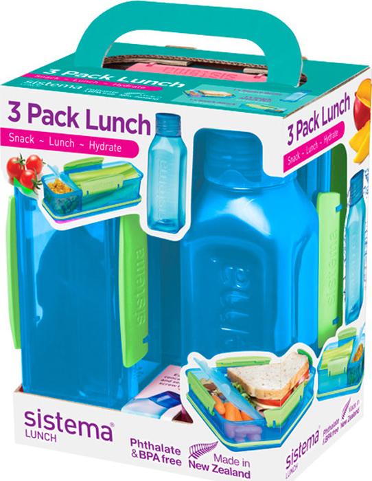 Набор Sistema Lunch: 2 контейнера и бутылка для воды Sistema, цвет: синий, 475 мл. 1595S