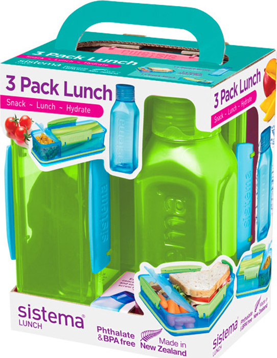 Набор Sistema Lunch: 2 контейнера и бутылка для воды Sistema, цвет: зеленый, 475 мл. 1595Z