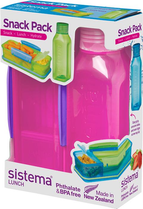 Набор Sistema Lunch, контейнер и бутылка для воды Sistema, цвет: красный, 475 мл. 1596K