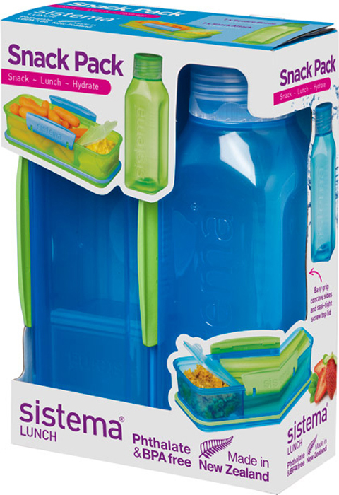 Набор Sistema Lunch, контейнер и бутылка для воды Sistema, цвет: синий, 475 мл. 1596S