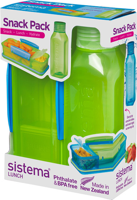 Набор Sistema Lunch, контейнер и бутылка для воды Sistema, цвет: зеленый, 475 мл. 1596Z