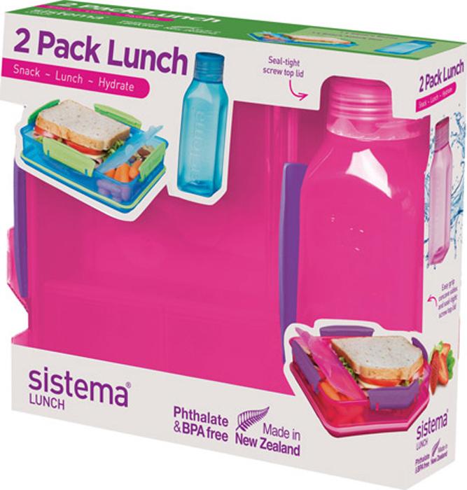 Набор Sistema Lunch, контейнер и бутылка для воды Sistema, цвет: красный, 475 мл. 1597K
