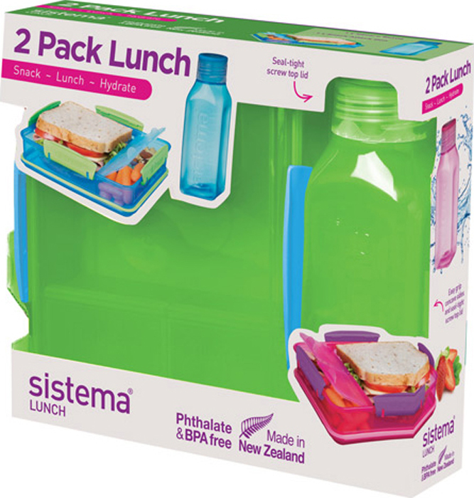 Набор Sistema Lunch, контейнер и бутылка для воды Sistema, цвет: зеленый, 475 мл. 1597Z
