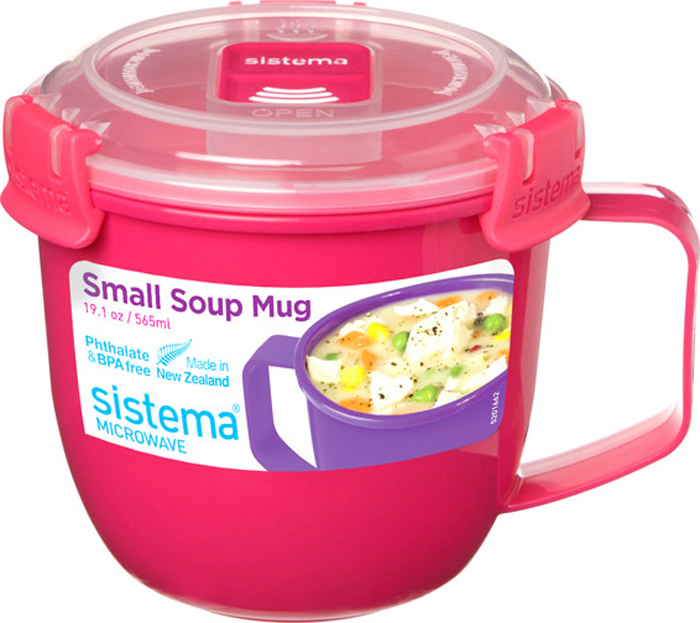 Кружка суповая Sistema To-Go, цвет: розовый, 565 мл кружка для лапши sistema to go цвет голубой 940 мл