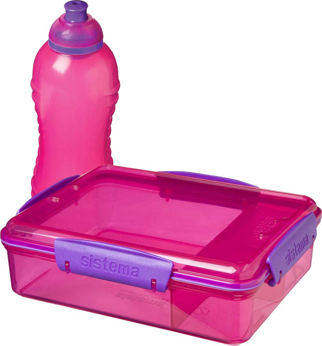 Набор Sistema: контейнер с разделителями 975 мл и бутылка для воды 330 мл, цвет: красный