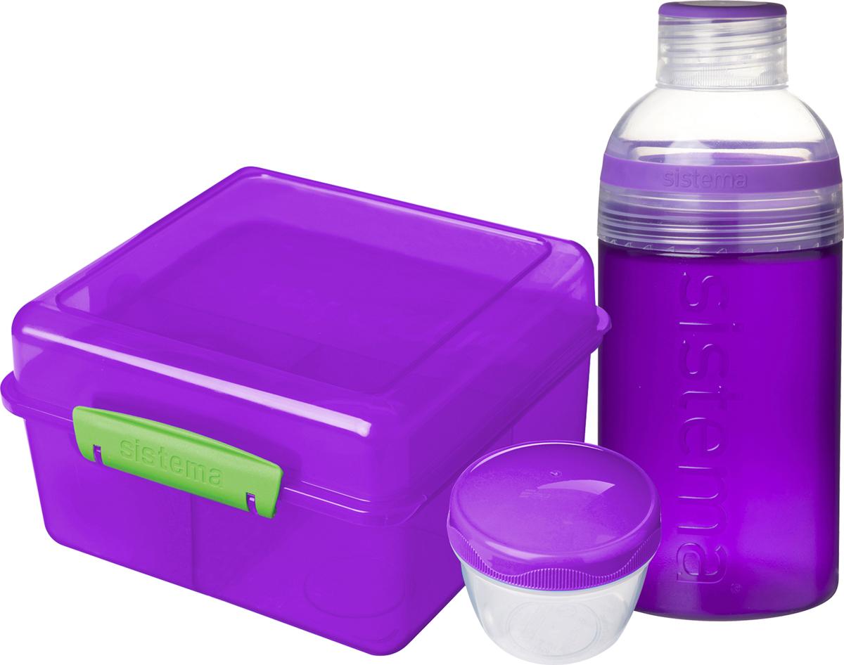 Набор Sistema: ланчбокс 2 л и бутылка для воды 480 мл, цвет: фиолетовый