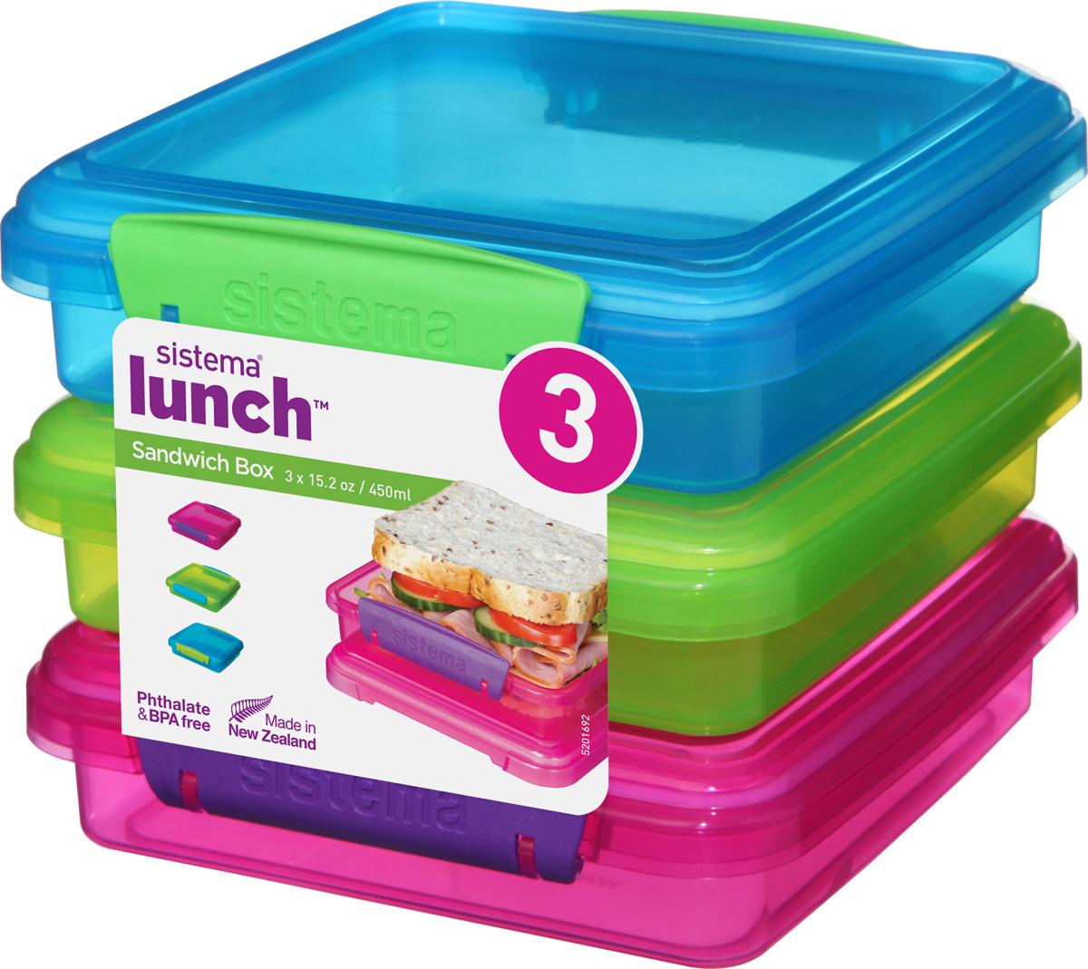 Контейнер пищевой 41647, красный, синий, зеленый контейнер для сэндвичей sistema цвет прозрачный фиолетовый розовый 450 мл
