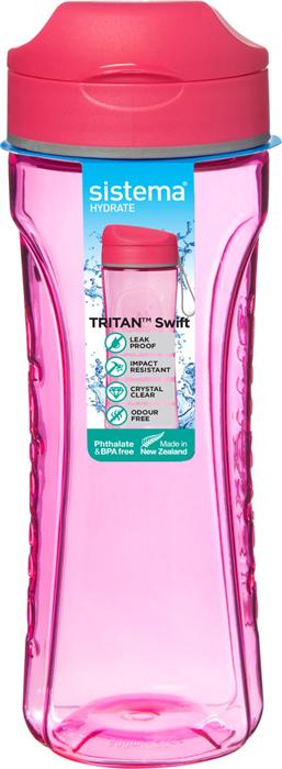 "Бутылка для воды Sistema ""Тритан"", цвет: красный, 600 мл"