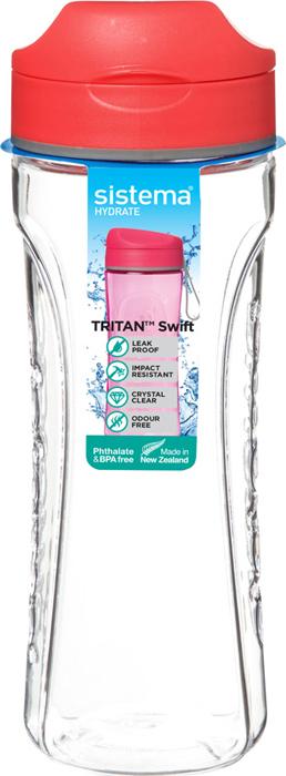"Бутылка для воды Sistema ""Тритан"", цвет: оранжевый, 600 мл"