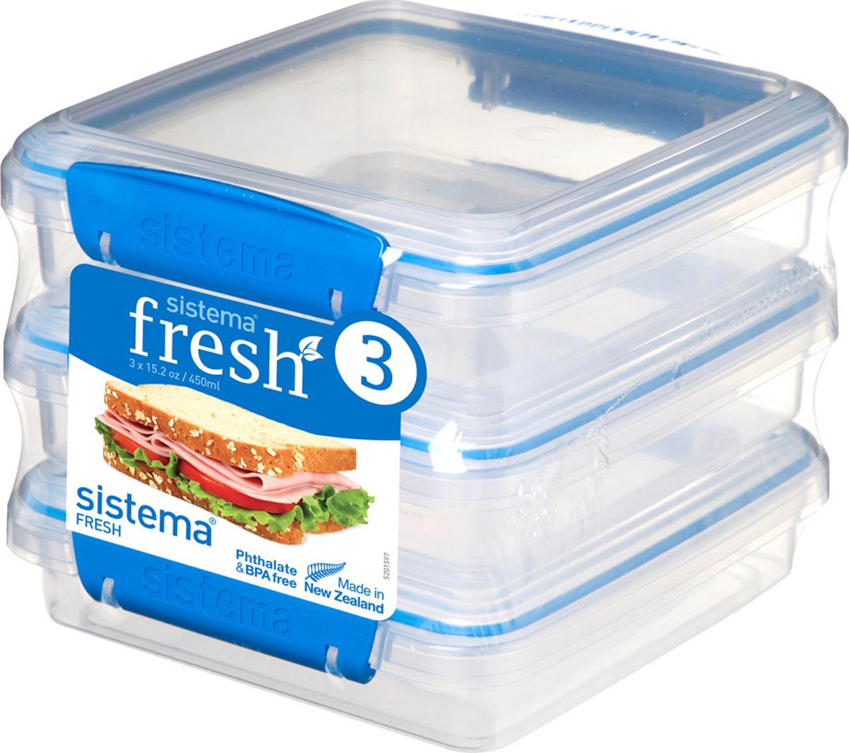 Контейнер пищевой Sistema 921643, Пластик контейнер для сэндвичей sistema цвет прозрачный фиолетовый розовый 450 мл