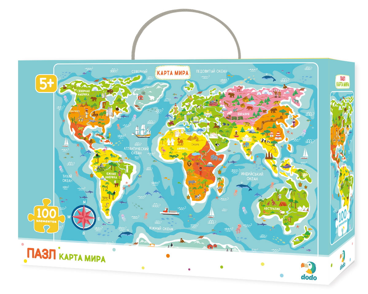Пазл для малышей Dodo Карта мира пазл для малышей dodo 4в1 времена года