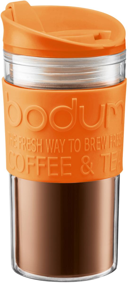 Кружка дорожная Bodum Travel, цвет: оранжевый, 350 мл