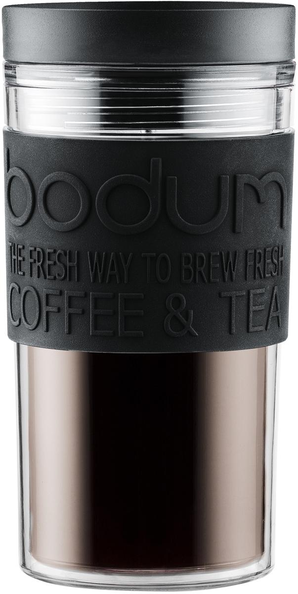 Кружка дорожная Bodum Travel, цвет: черный, 350 мл