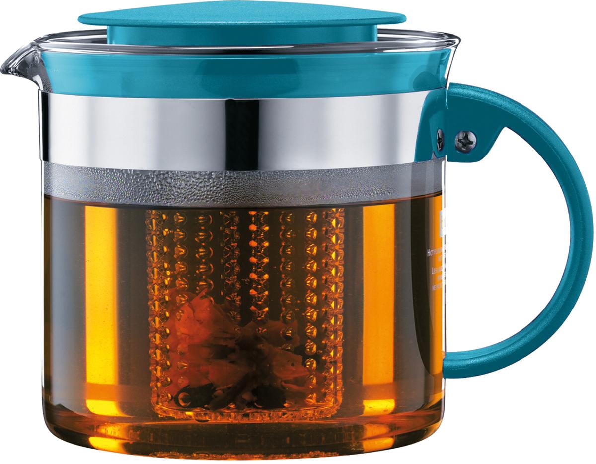 Чайник заварочный Bodum Bistro Nouveau, с фильтром, цвет: бирюзовый, 1 л чайник заварочный bodum assam с фильтром 1 л