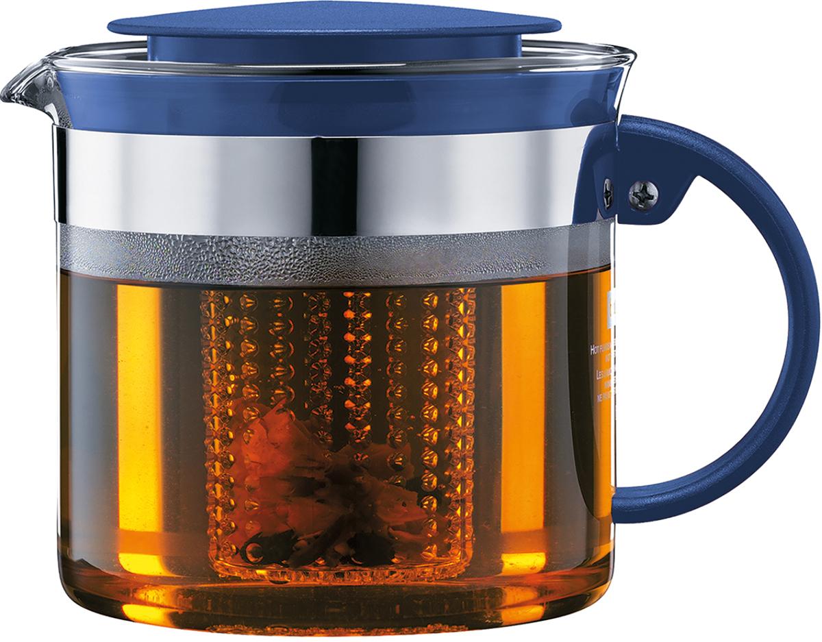 Чайник заварочный Bodum Bistro Nouveau, с фильтром, цвет: деним, 1 л чайник заварочный bodum assam с фильтром 1 л