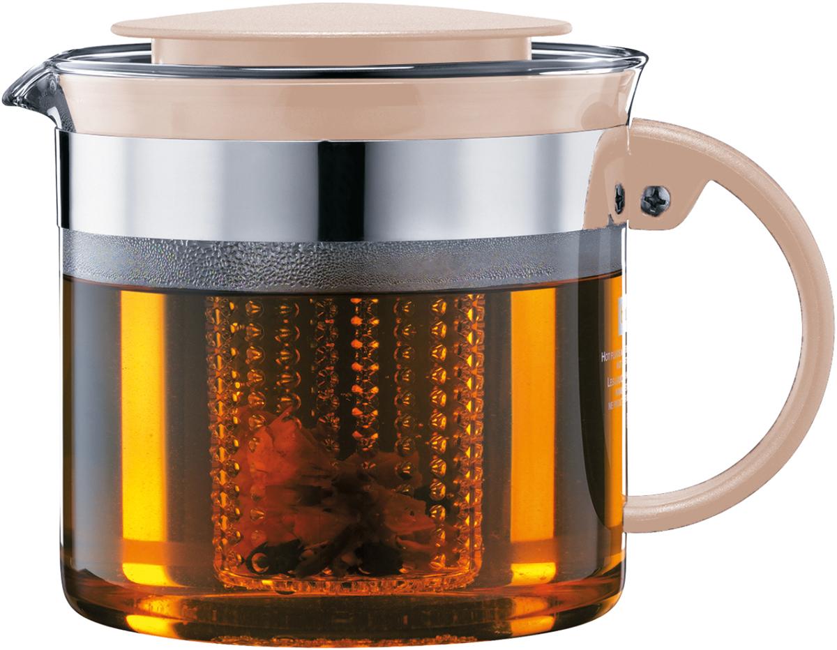 Чайник заварочный Bodum Bistro Nouveau, с фильтром, цвет: песочный, 1 л чайник заварочный bodum assam с фильтром 1 л