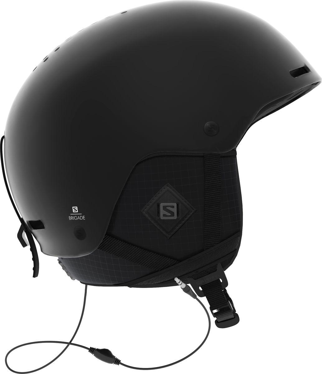 Шлем горнолыжный Salomon Brigade Audio All, цвет: черный. Размер S (53-56) шлем горнолыжный salomon helmet brigade audio grey forest gr размер l 58 59