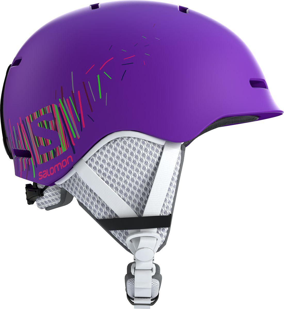 Шлем горнолыжный Salomon Grom, детский, цвет: фиолетовый. Размер S (49-53) горнолыжный шлем salomon salomon allium custom air черный s 53 56