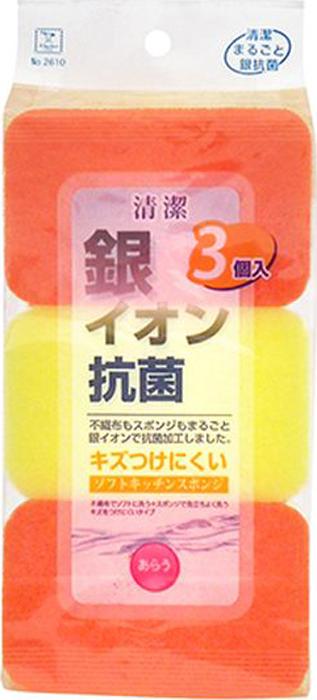 Губка для мытья посуды Kokubo, с ионами серебра и антимикробным эффектом, 3 шт4956810226108Губка с двух сторон обработана антибактериальным средством с ионами серебра, которые предотвращают размножение бактерий, попадающих на губку. Губка мягкая образует при мытье много пены и не оставляет повреждений. Размер: 7 см ? 11 см