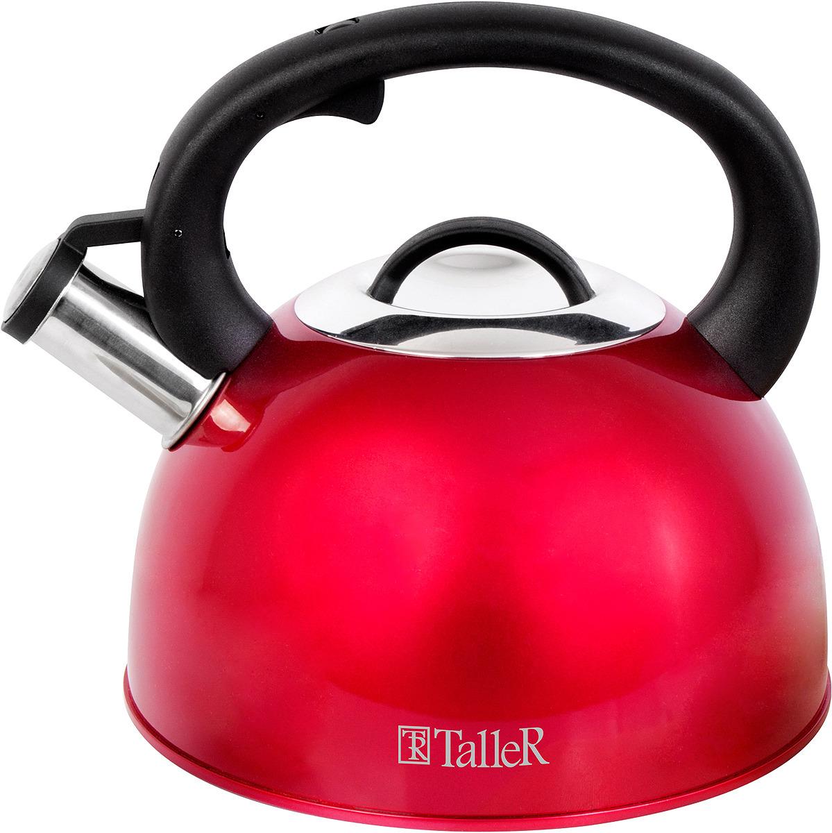 Чайник Taller Фолкнер, 2,5 л. TR-1382TR-1382Чайник со свистком Фолкнер, 2.5 л. Толщина стенки -0,5 мм, толщина дна 0.4 мм. Крышка из нержавеющей стали с бакелитовой ручкой. Рекомендации: подходит для всех типов плит Рекомендуется ручная мойка