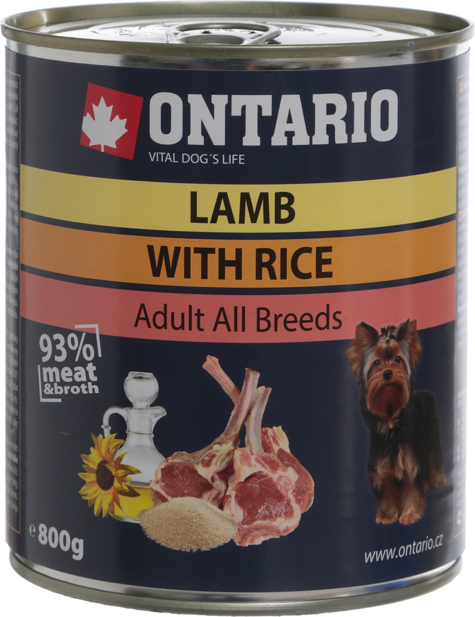 """Консервы для собак """"Ontario"""", с ягненком и рисом, 800 г"""