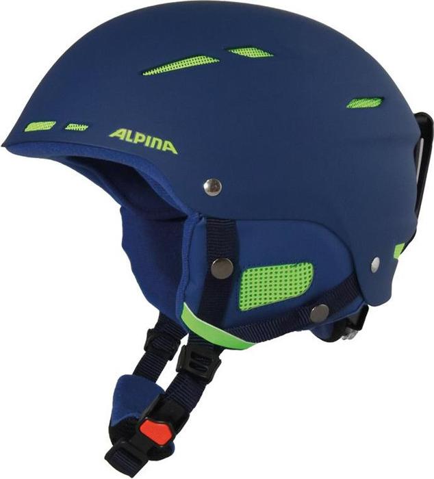 Шлем горнолыжный зимний Alpina Biom, цвет: синий, салатовый. Размер 58-62 см