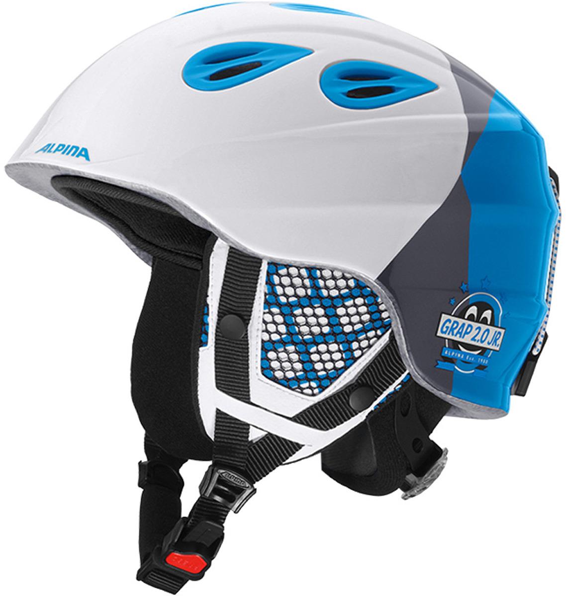 Шлем горнолыжный зимний Alpina Grap 2.0 JR, цвет: белый, серый, голубой. Размер 51-54 см