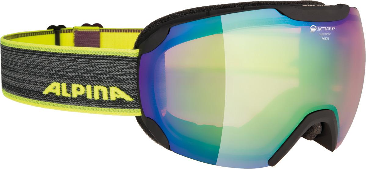 Очки горнолыжные Alpina Pheos QMM S2 (L50), цвет: черный, зеленый линза для маски shred clear доп линза двойная для soaza 81