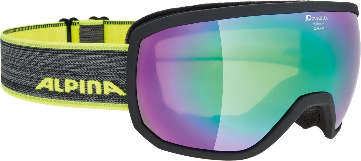 Очки горнолыжные Alpina Scarabeo MM S3 (L50), цвет: черный, разноцветный линза для маски shred clear доп линза двойная для soaza 81