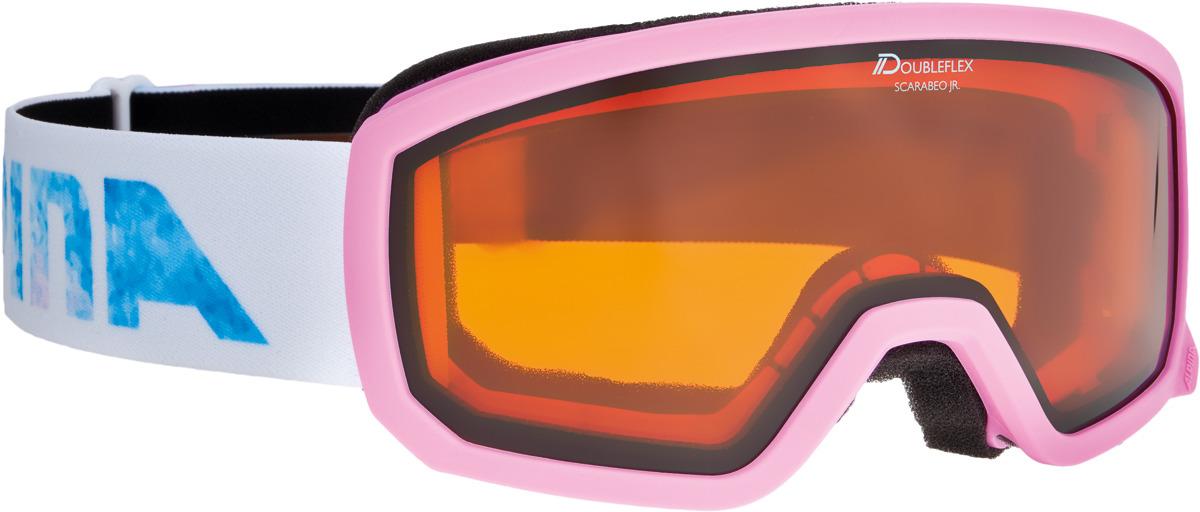 Очки горнолыжные Alpina Scarabeo JR. DH S2 (7-14), цвет: белый, розовый alpina горнолыжные очки alpina scarabeo jr dh розовые