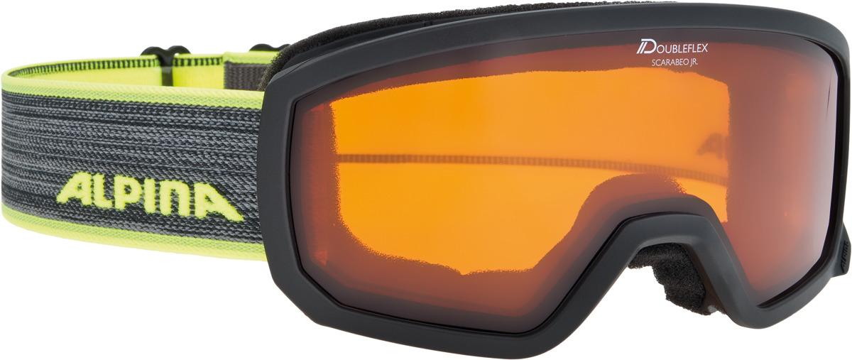 Очки горнолыжные Alpina Scarabeo JR. DH S2/DH zyl. S2 (7-14), цвет: черный, желтый alpina горнолыжные очки alpina scarabeo jr dh розовые