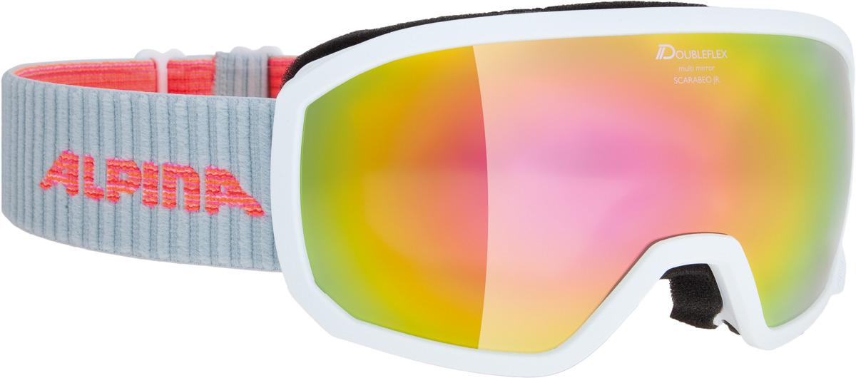Очки горнолыжные Alpina Scarabeo JR. S3 (7-14), цвет: белый, разноцветный линза для маски shred clear доп линза двойная для soaza 81