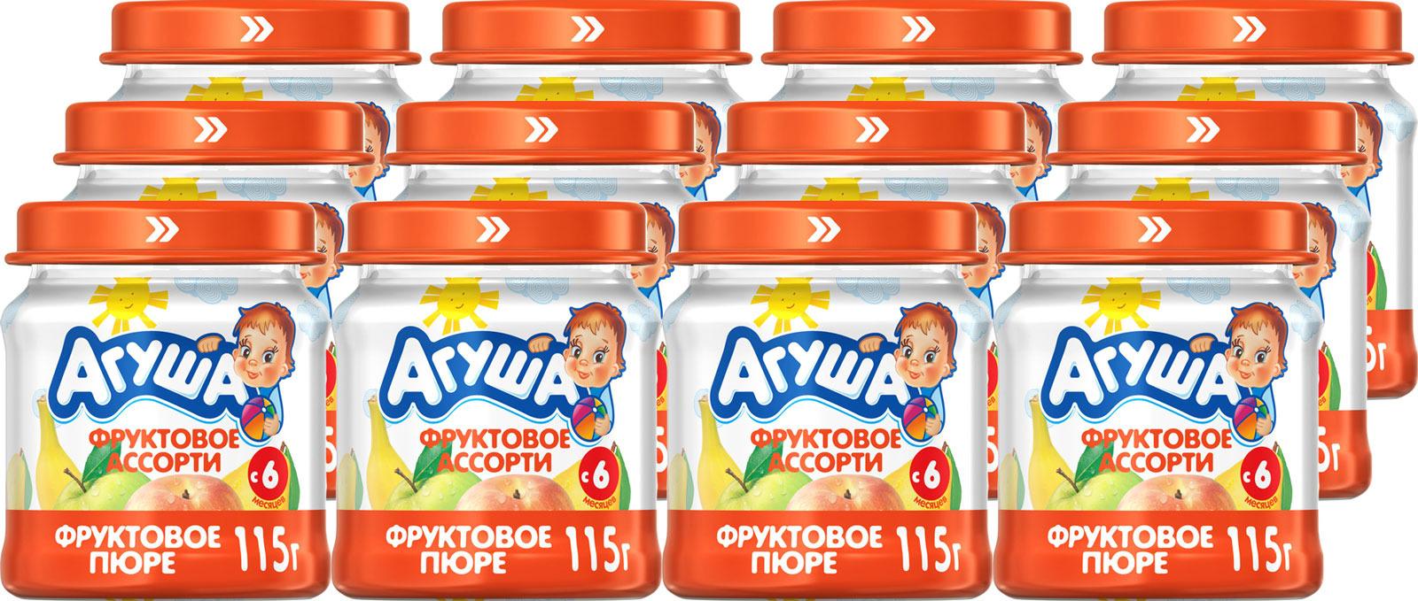 Пюре фруктовое с 6 месяцев Агуша Яблоко-Груша-Банан-Персик, 12 шт по 115 г