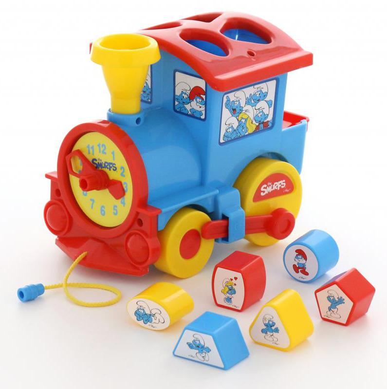 """Сортер Полесье """"Логический паровозик. Смурфики №2"""", с 6 кубиками, цвет в ассортименте"""
