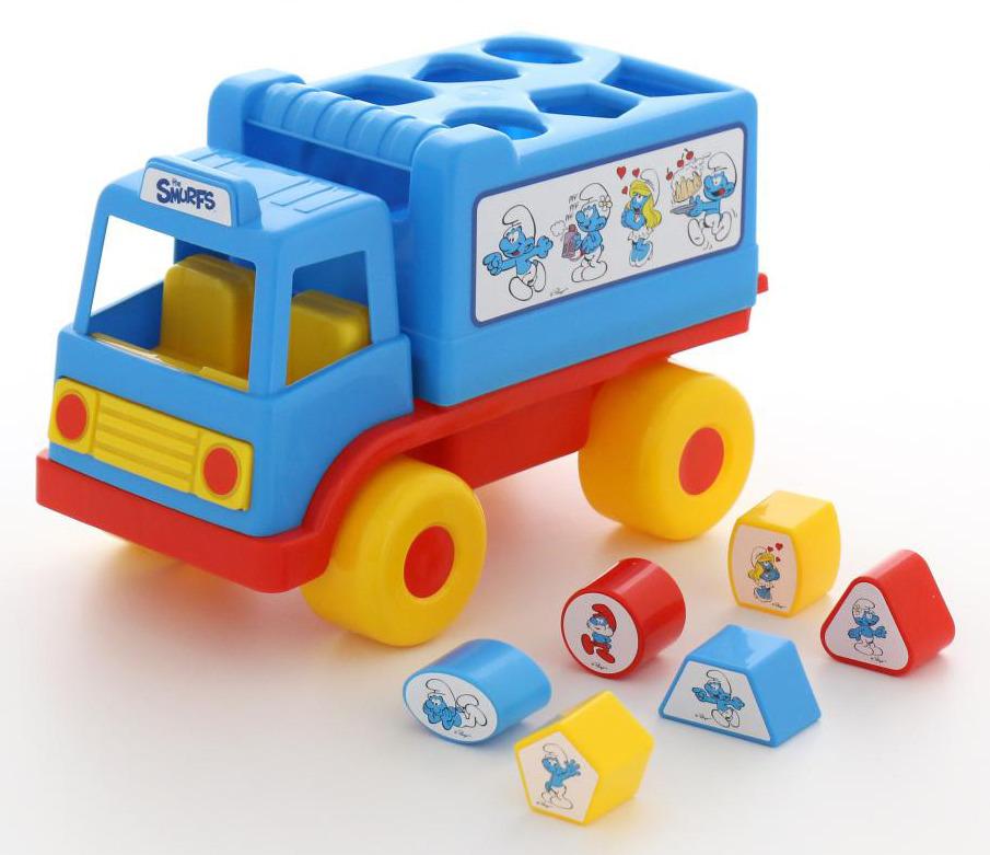 """Сортер Полесье """"Логический грузовичок. Смурфики №1"""", с 6 кубиками, цвет в ассортименте"""