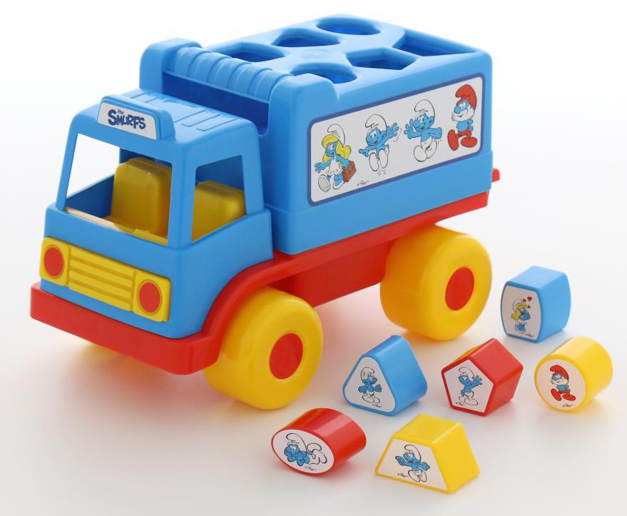 """Сортер Полесье """"Логический грузовичок. Смурфики №2"""", с 6 кубиками, цвет в ассортименте"""