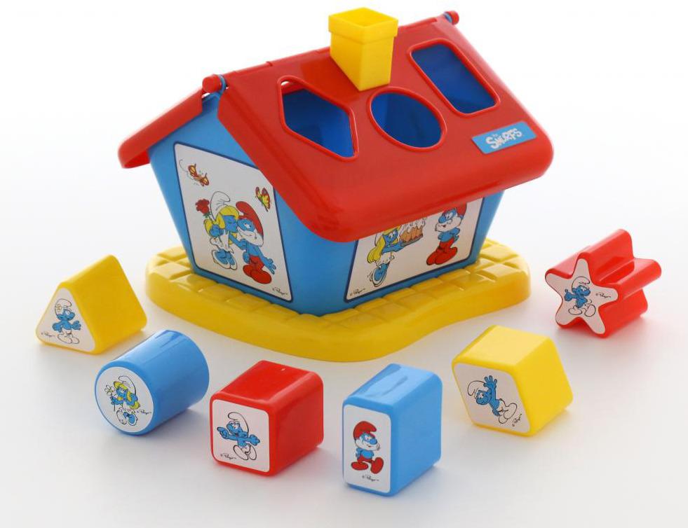 Сортер Полесье Логический домик. Смурфики №1, с 6 кубиками, цвет в ассортименте