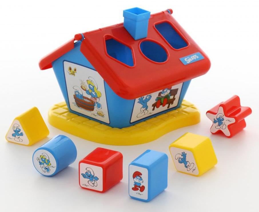 Сортер Полесье Логический домик. Смурфики №2, с 6 кубиками, цвет в ассортименте сортер полесье логический домик