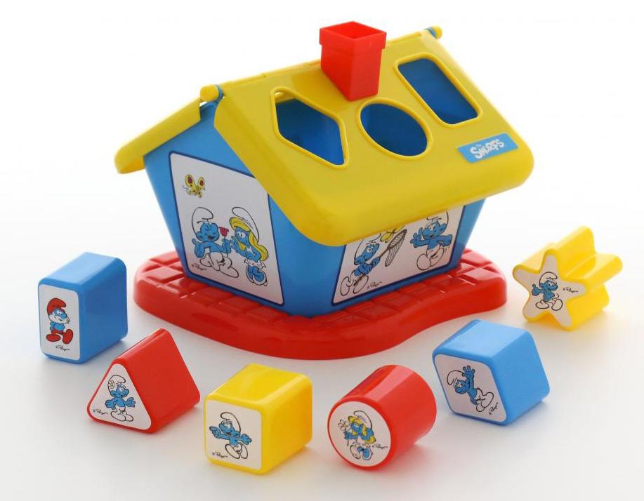 Сортер Полесье Логический домик. Смурфики №3, с 6 кубиками, цвет в ассортименте