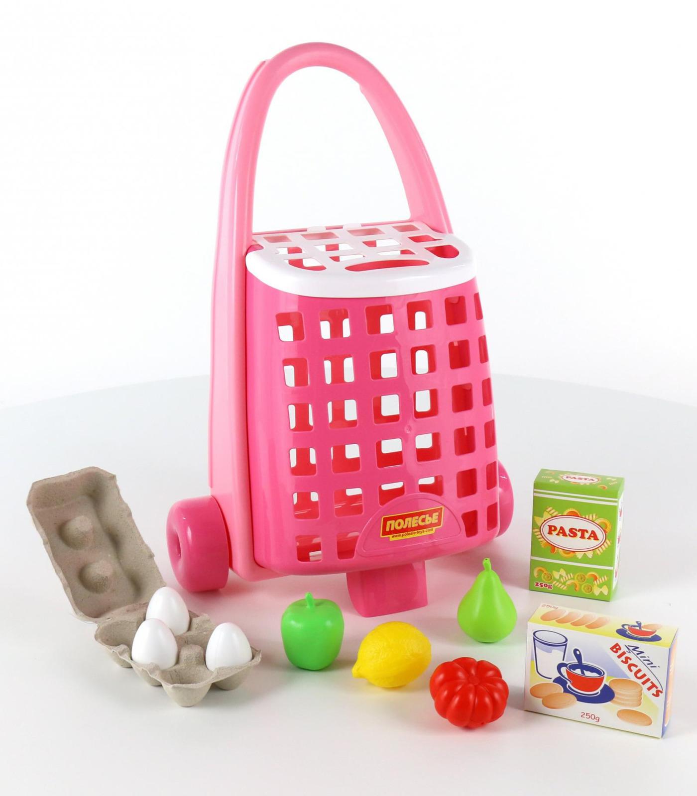 Фото - Тележка Полесье + набор продуктов, 10 элементов, цвет в ассортименте полесье игрушечная тележка supermarket 1 с набором продуктов цвет в ассортименте