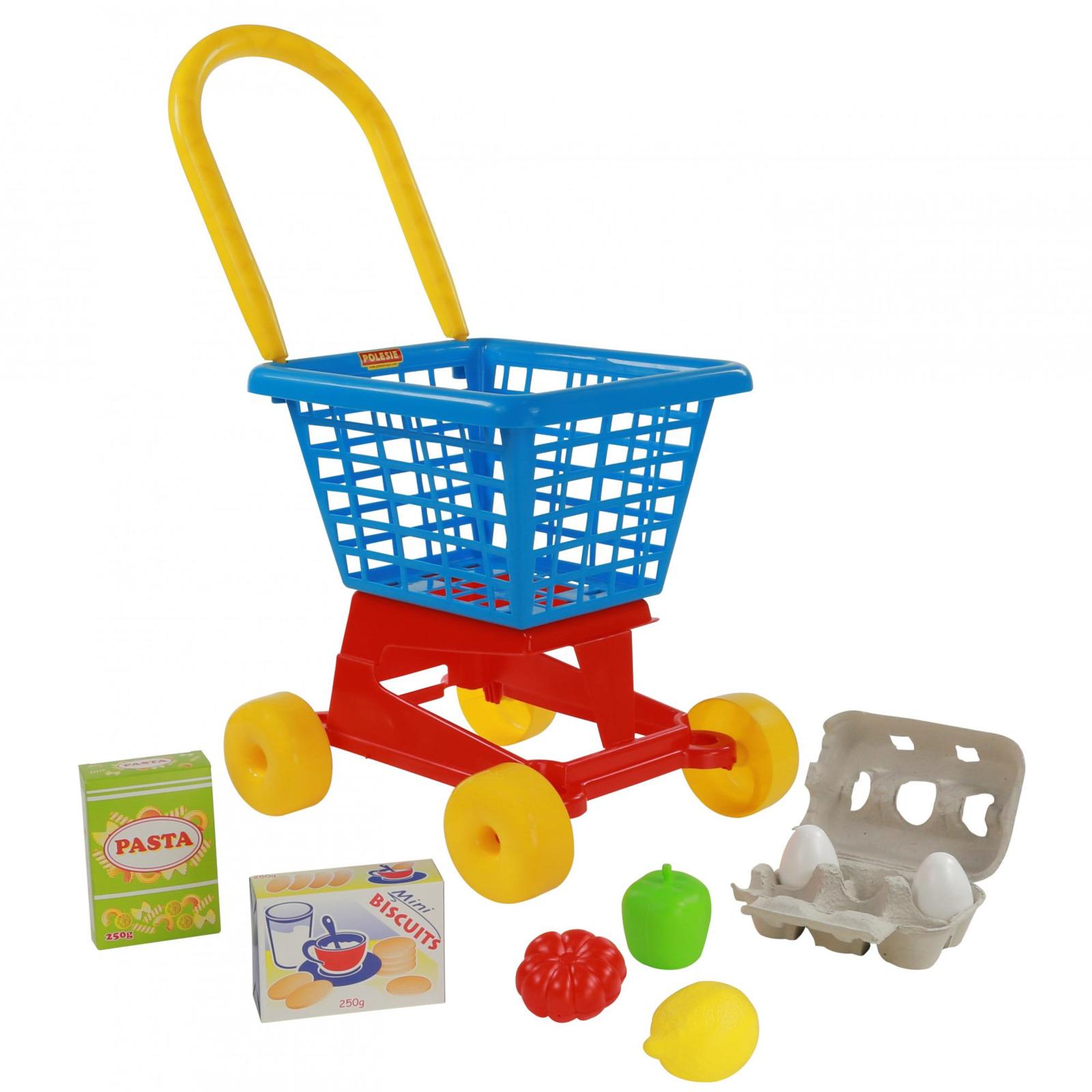 Фото - Тележка Полесье Supermarket №1 + набор продуктов №2, цвет в ассортименте полесье игрушечная тележка supermarket 1 с набором продуктов цвет в ассортименте